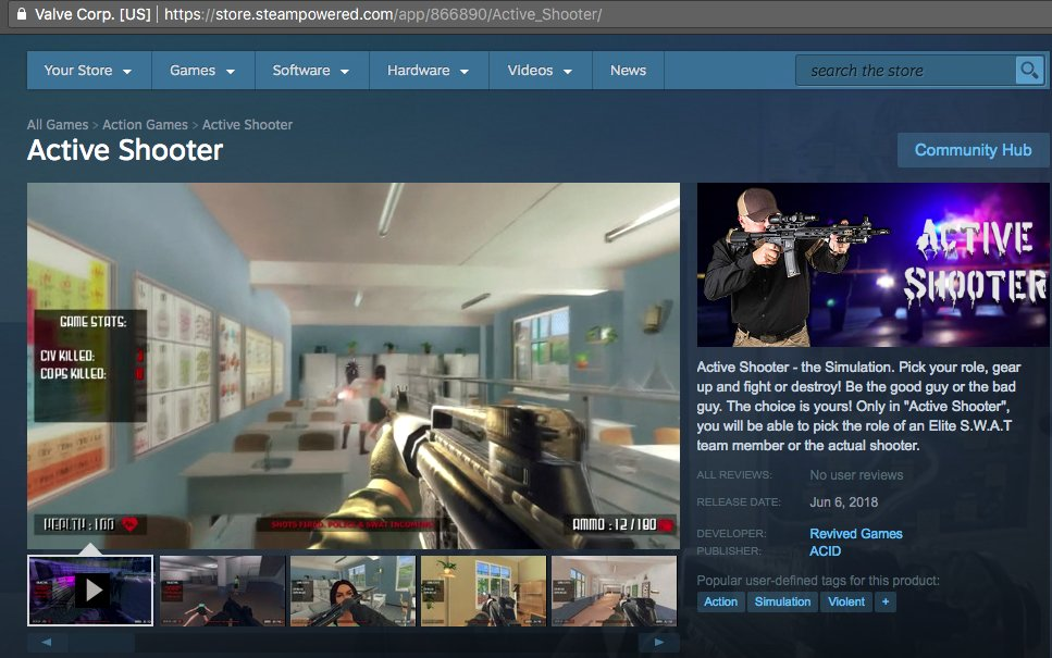 Glorifying Mass Shooting Is Not Acceptable – An Open Letter to Valve Corporation
